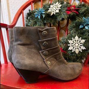 Gray, suede, heeled booties by Dansko